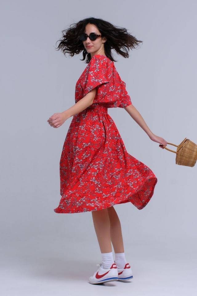 Vestido maxi vermellho de flor impresso