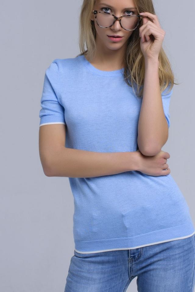 Camisola de manga curta azul