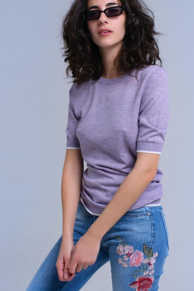 Camisola de manga curta roxa