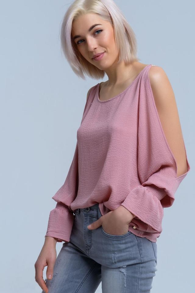 Aberta do ombro manga comprida rosa blusa