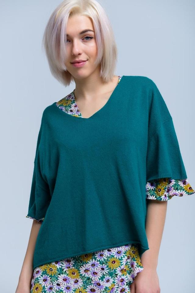 Camisola verde de manga curta