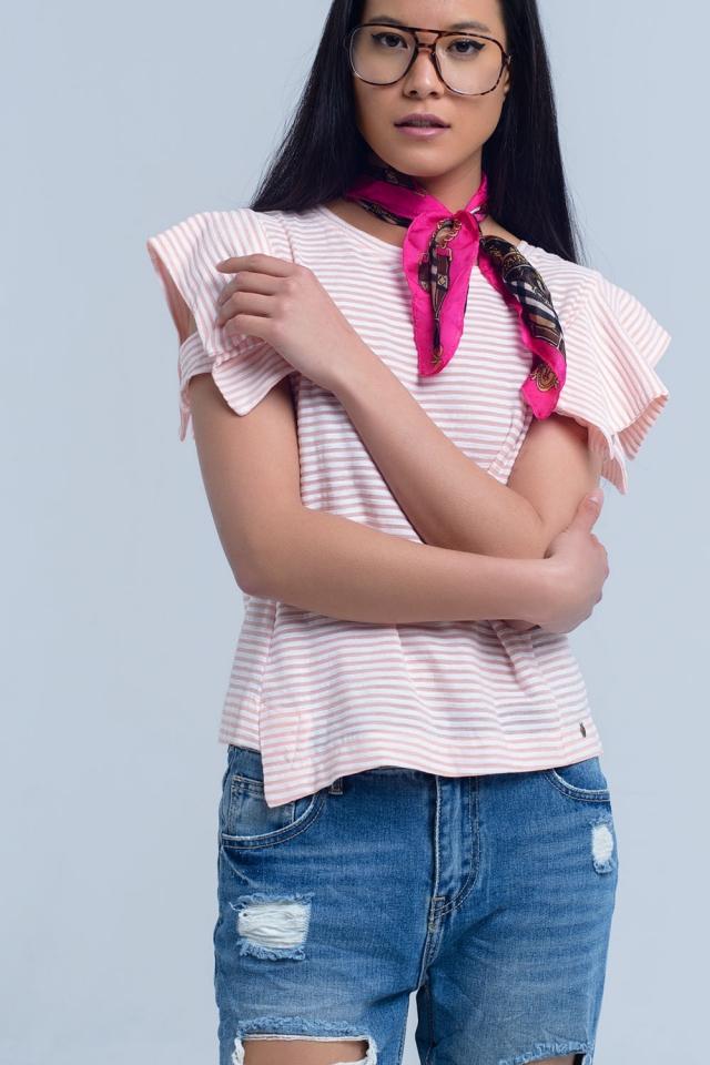 T de manga curta de listras cor-de-rosa