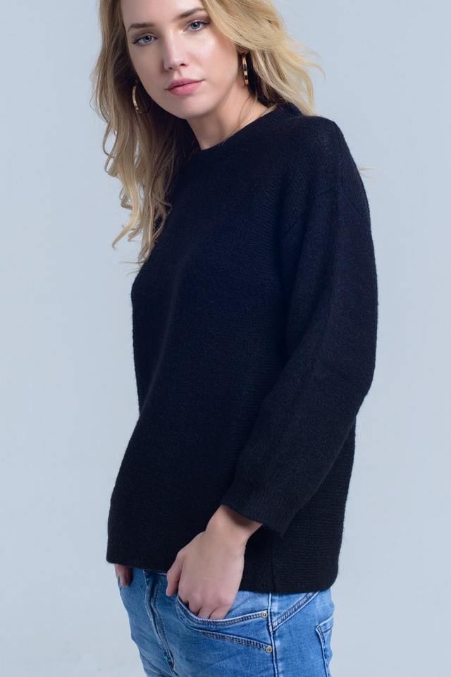 Camisola de pescoço de malha preta