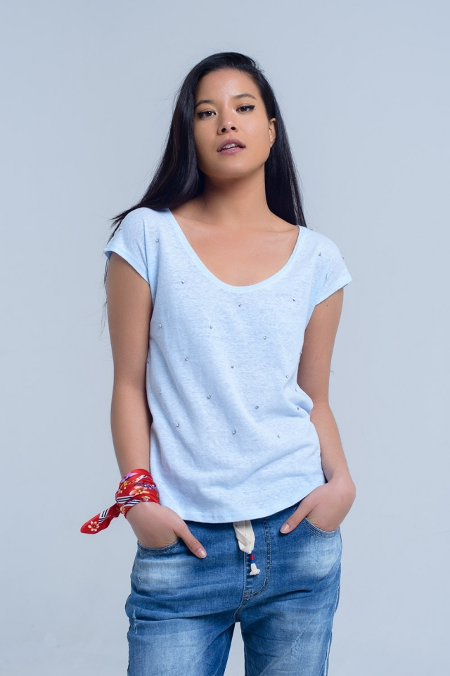 T-shirt azul com rhinestones de cristal