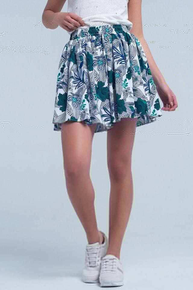 Mini skorts azul com impressão floral