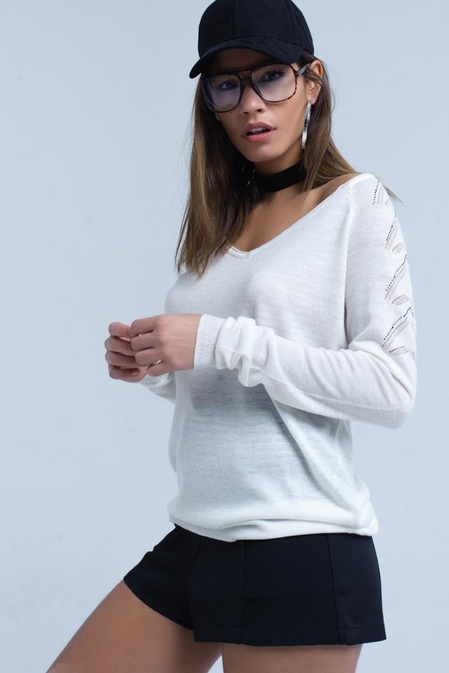 Camisola branca em tecido de malha leve