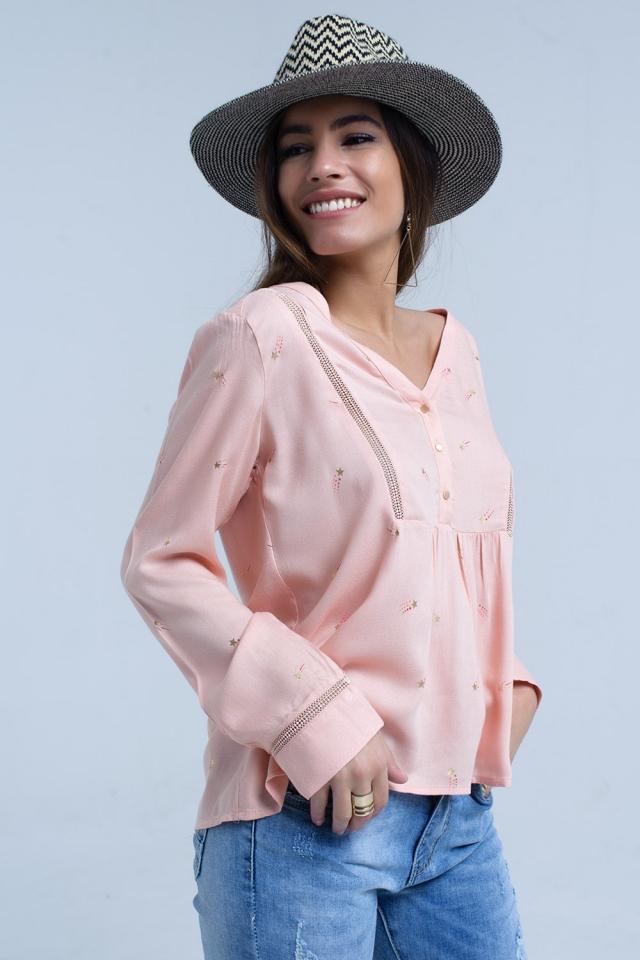 Blusa rosa com estampa estrela