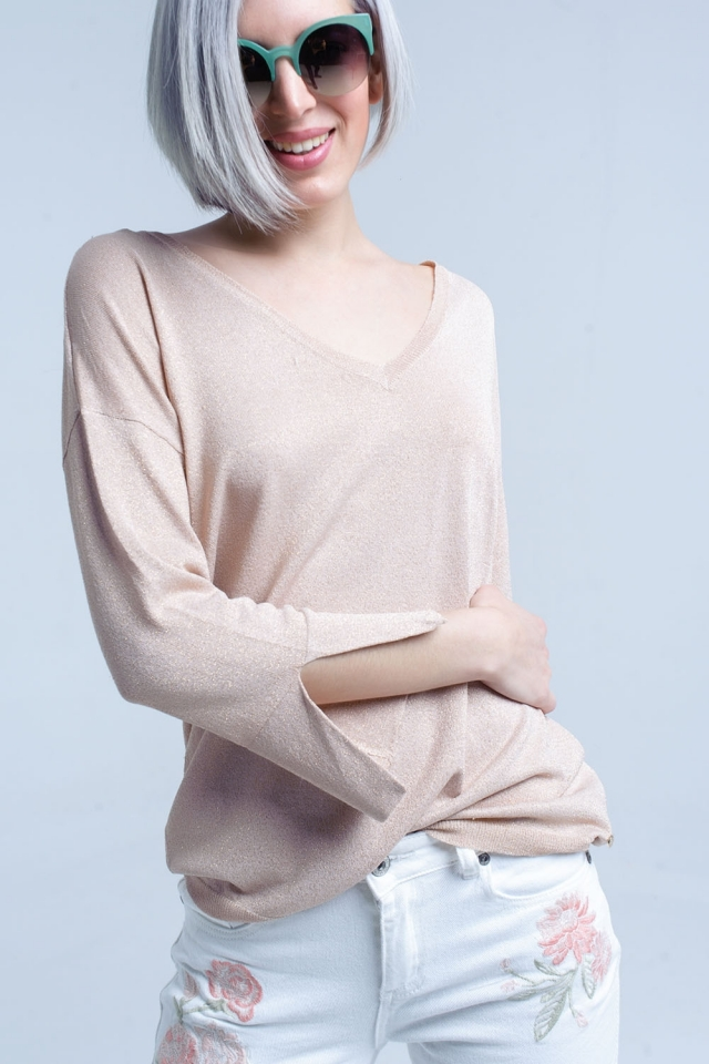 Camisola de malha cor-de-rosa com detalhes dourados em lurex