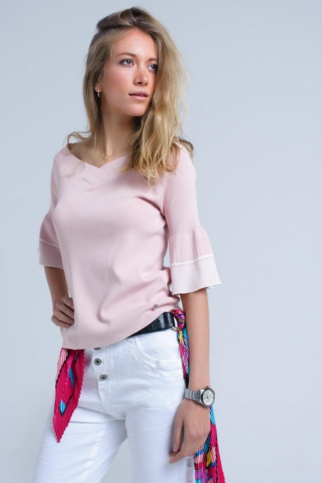 Camisola de malha rosa com manga de sino