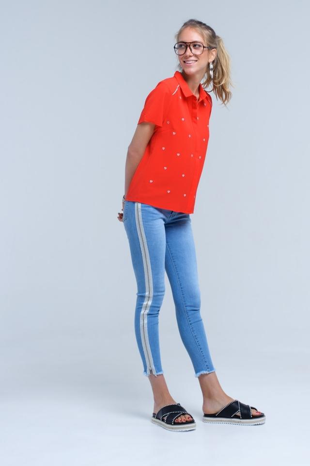 Skinny jean com detalhe lateral prateado