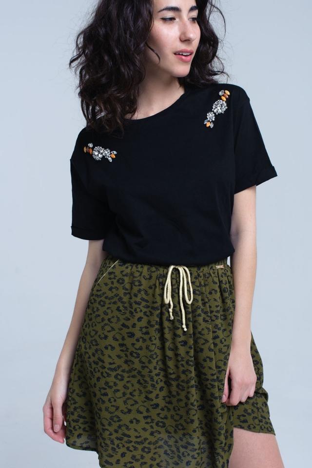 T-shirt nera con strass di cristallo