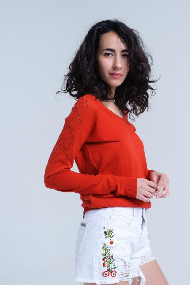 Camisola laranja em tecido leve