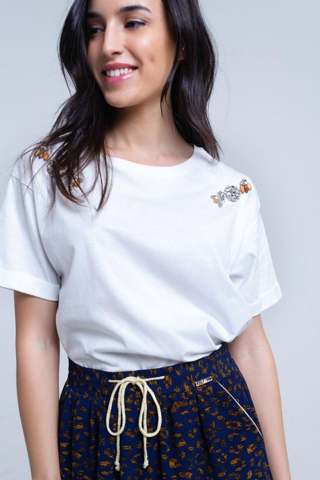 T-shirt branca com strass de cristal