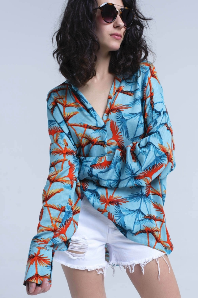 Blusa impressa oversized turquesa
