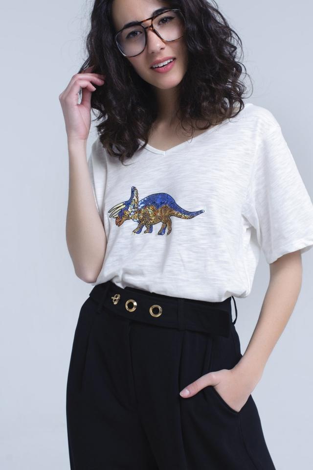 T-shirt branca com rinoceronte em lantejoulas