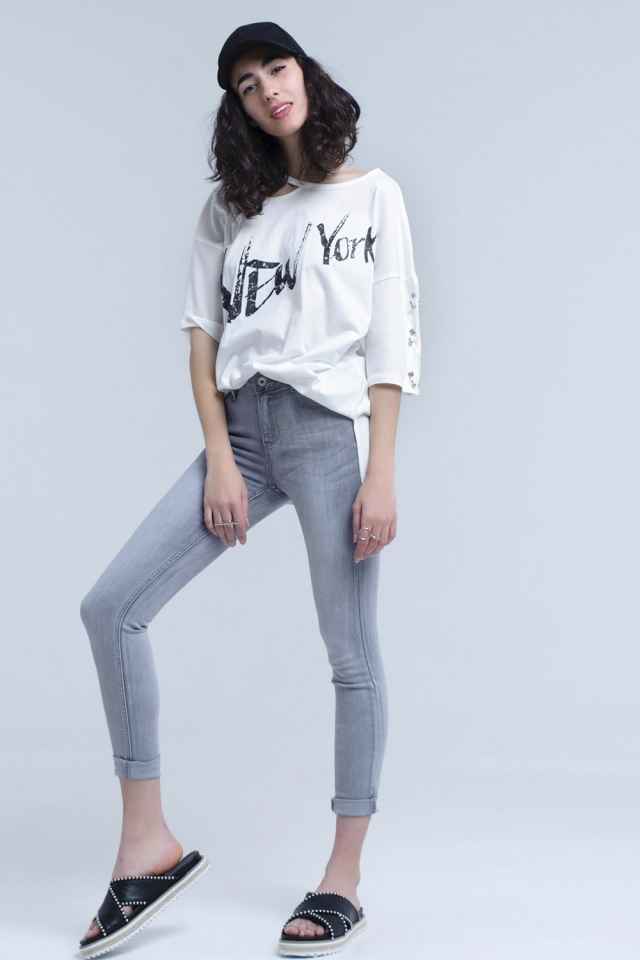 Jeans skinny cinza