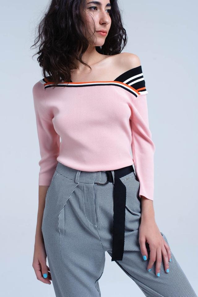 Camisola leve rosa com faixas de contraste