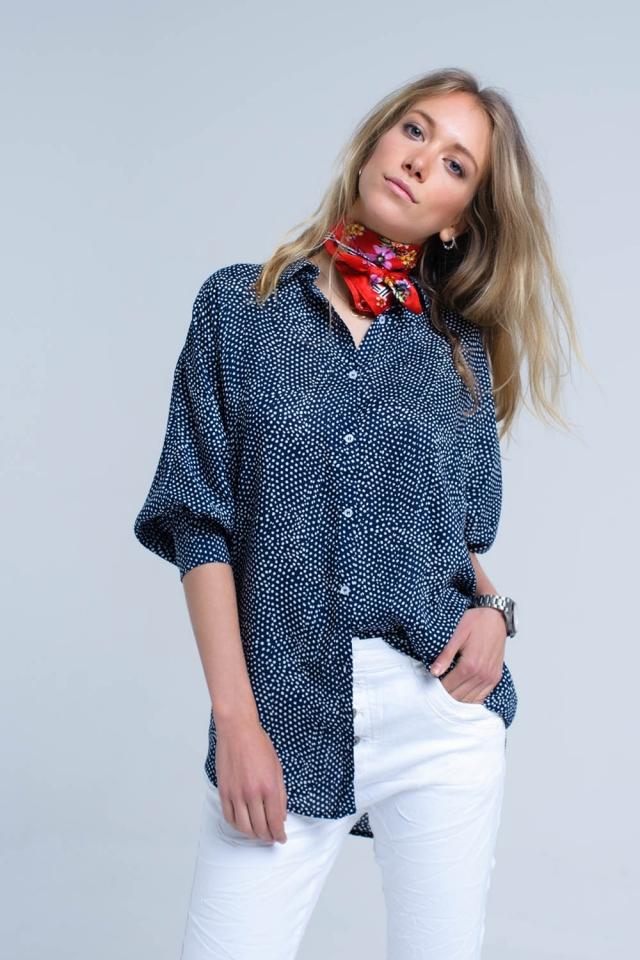 Camisa de espinhel azul-marinho em bolinhas