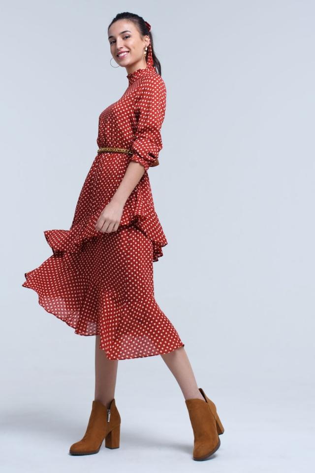 Vestido midi vermelho com bolinhas e babados