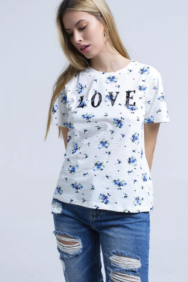 T-shirt com estampado floral e logótipo
