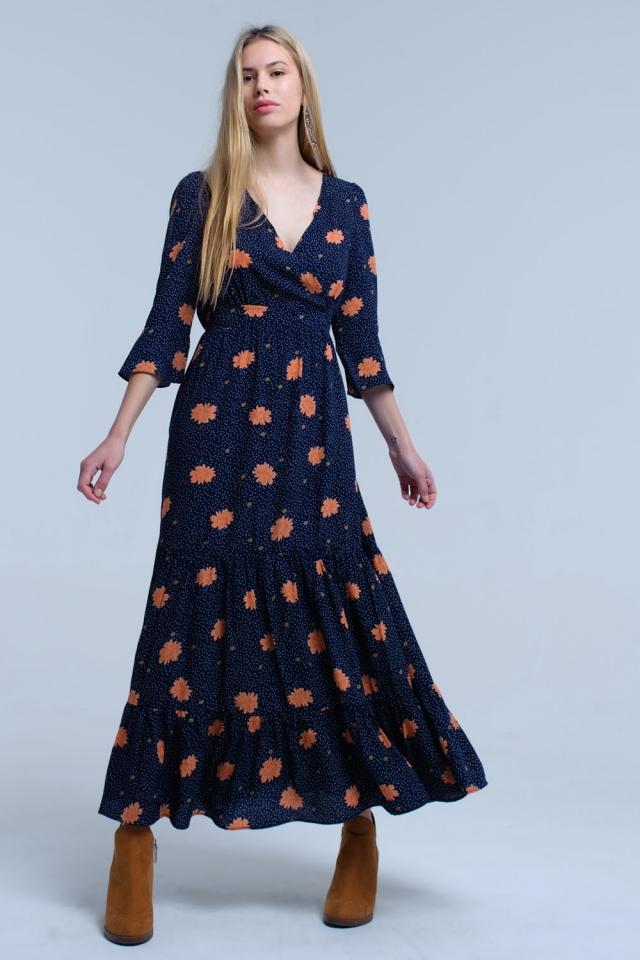 Vestido longo azul com estampa floral