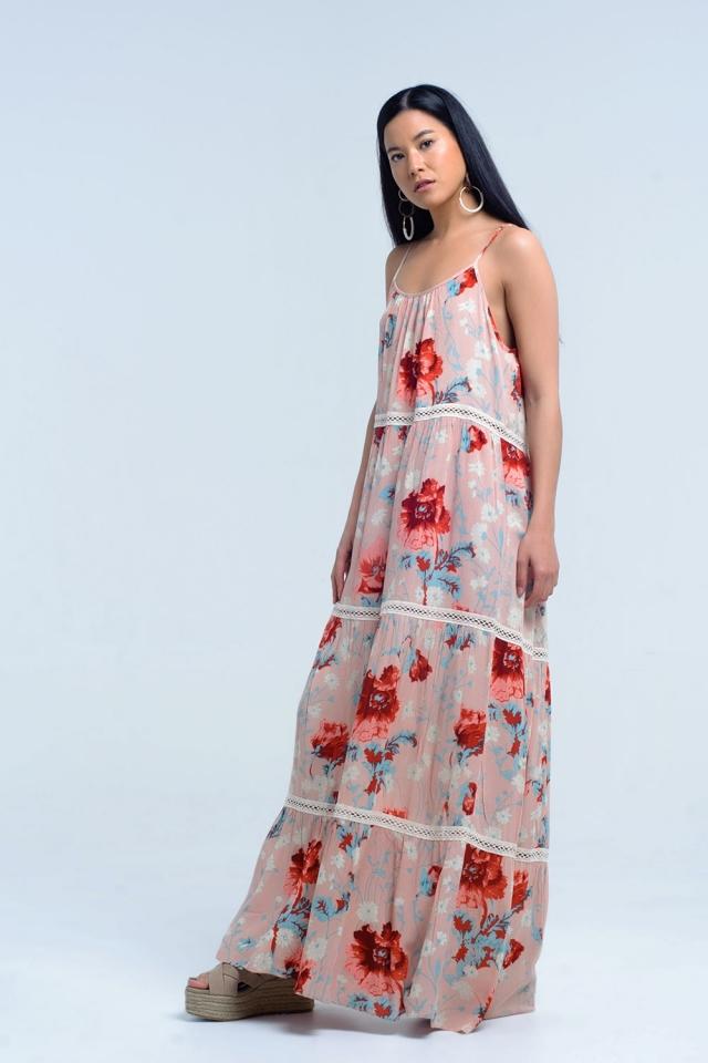 Vestido rosa Maxi com estampado floral e renda