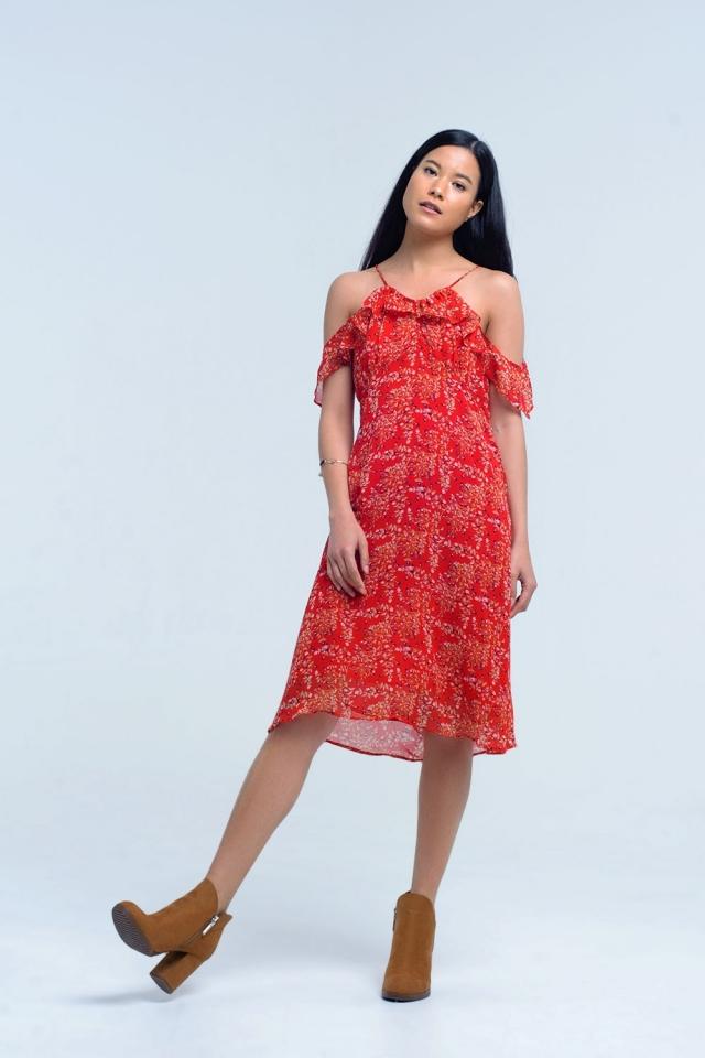 Vestido vermelho com flores e babados impressos
