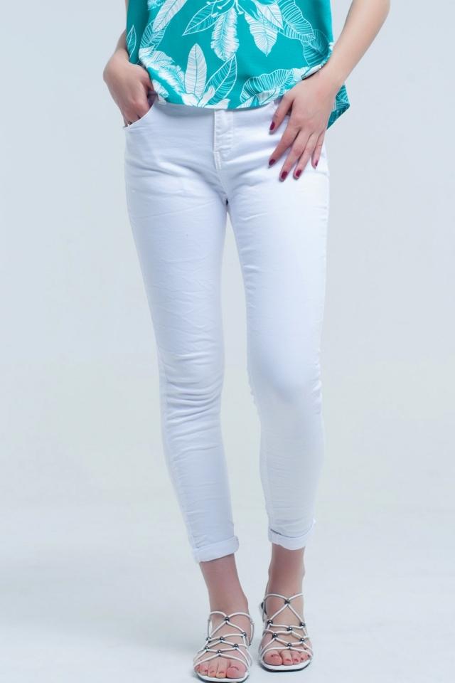 Calças de ganga skinny em branco
