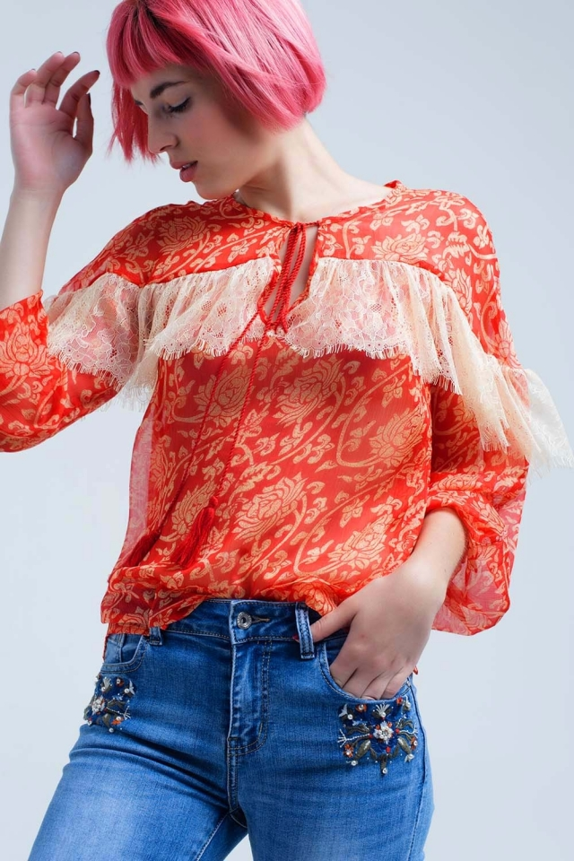 Camisa coral chiffon transparente com rendas