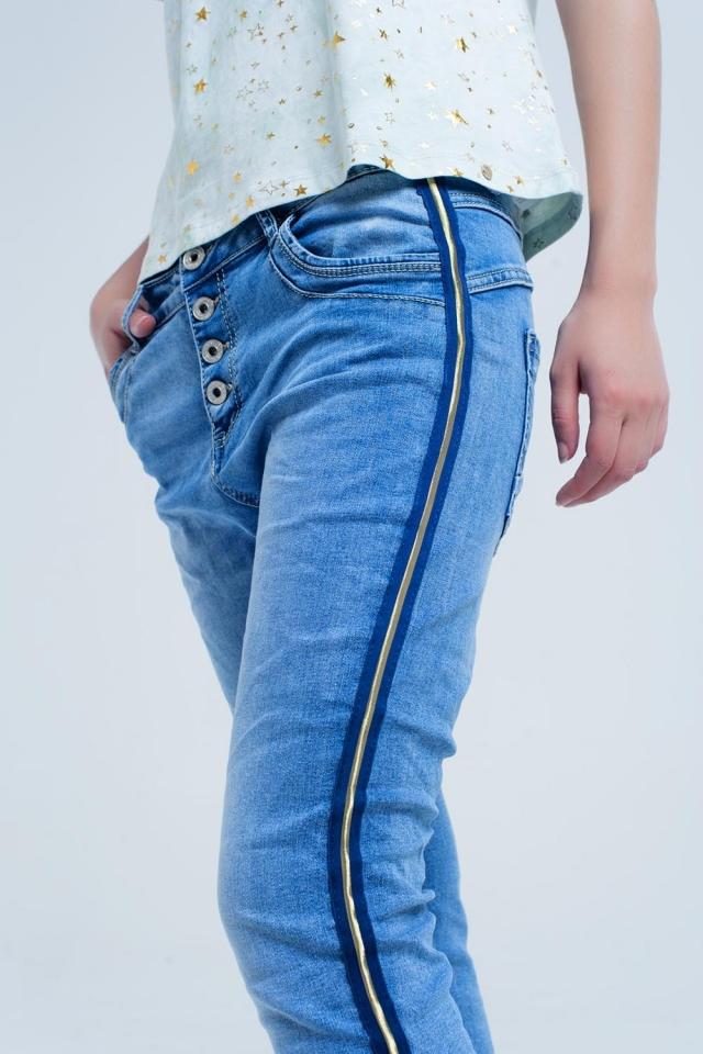 Jeans boyfriend con dettagli laterali in oro