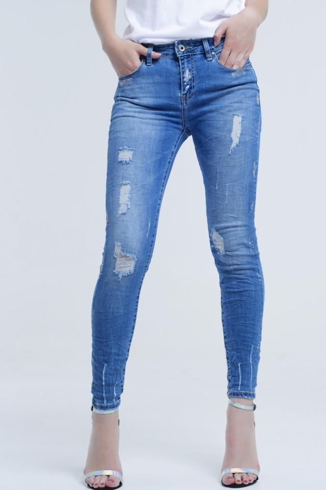 Jeans Skinny com rasgos e glitter