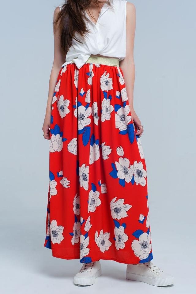 Saia longa vermelha com flores impressas