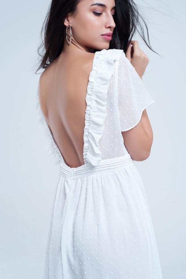 Vestido midi branco com bolinhas bordadas