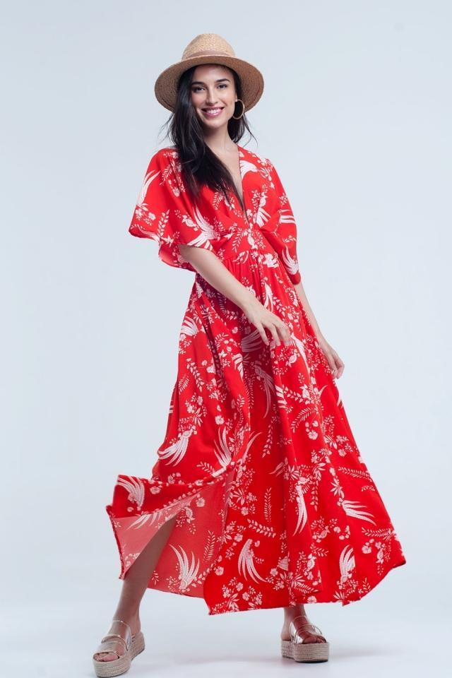Vestido longo vermelho com flores impressas