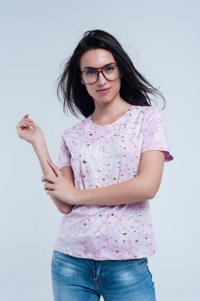 T-shirt rosa efeito desbotado com estrelas douradas