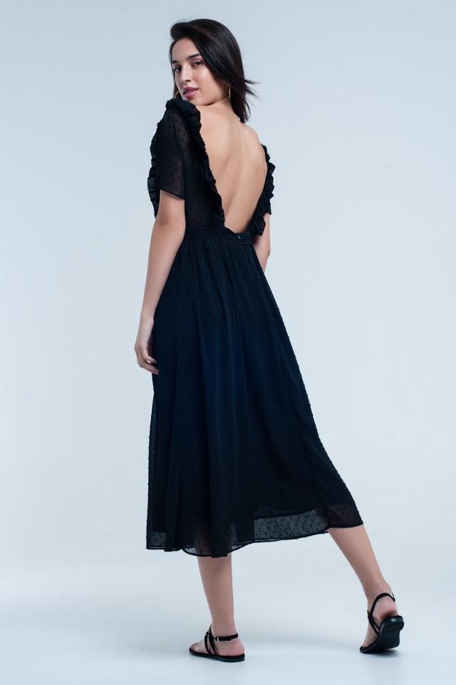 Vestido midi preto com bolinhas bordadas