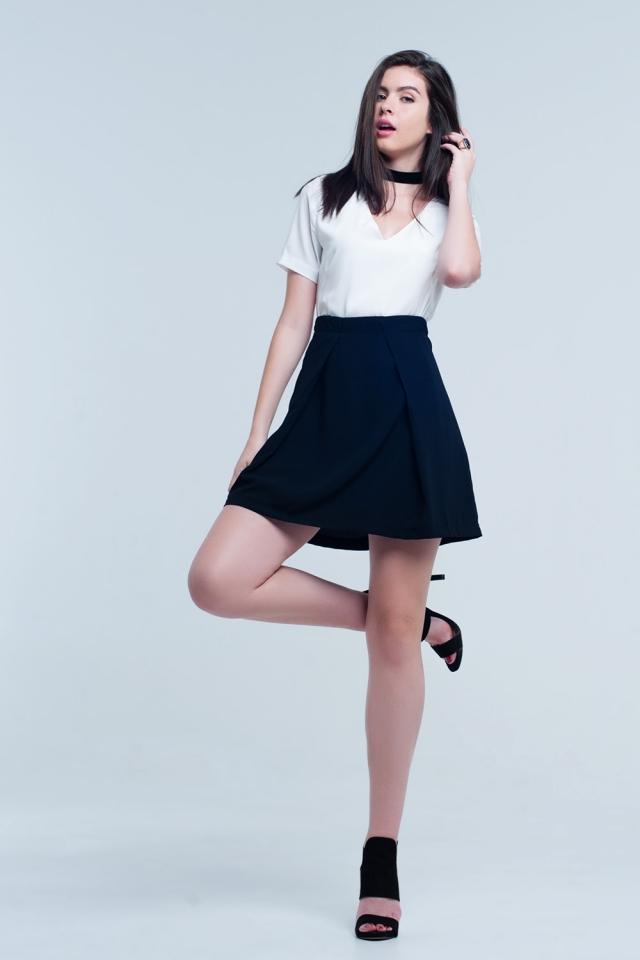 Mini vestido preto e branco
