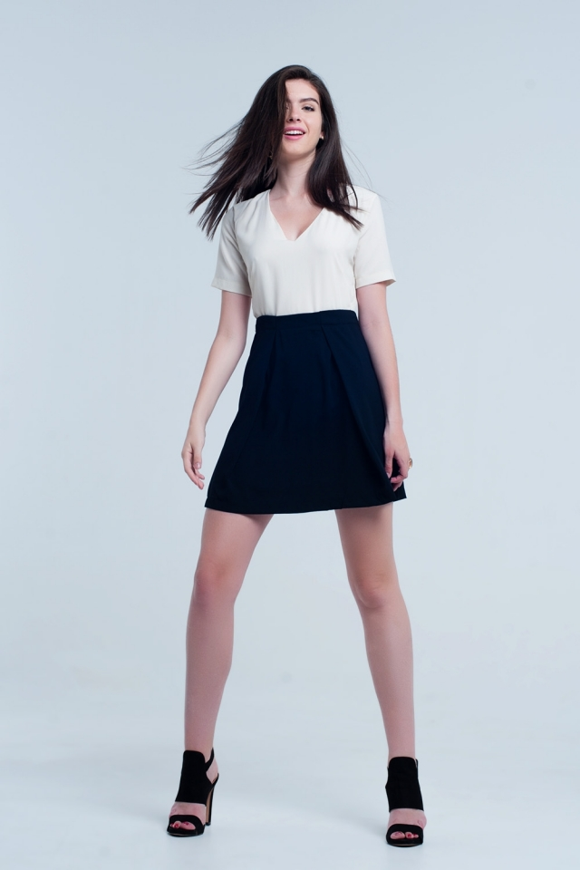 Vestido mini creme