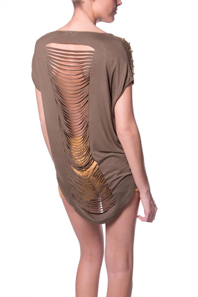 Garanhão ombros recortes t-shirt