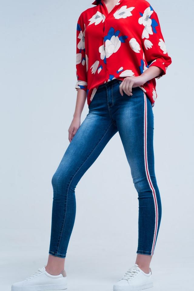 Jeans skinny com faixas laterais