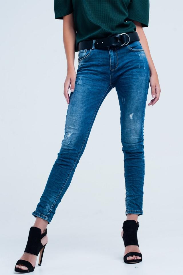 Skinny Blue jeans com rasgos
