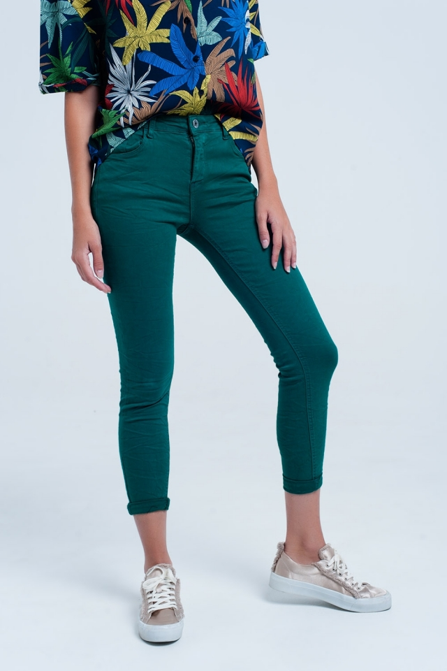Jeans skinny elástico verde