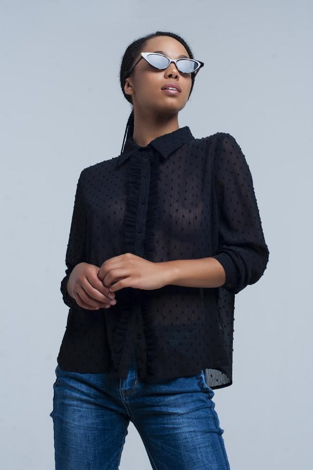 Camisa  preta com bolinhas bordadas