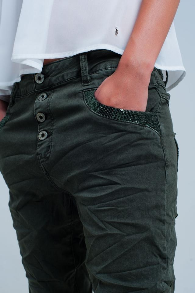 Calças de ganga boyfriend  verde com lantejoulas