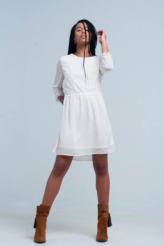 vestido Mini bege bolinhas com costas abertas
