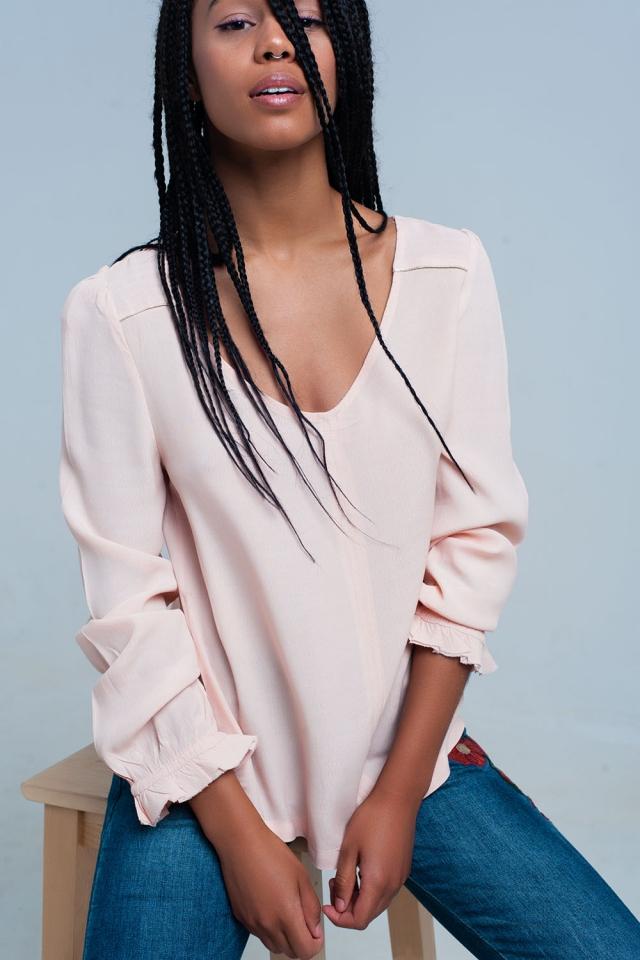 Blusa fluindo rosa claro
