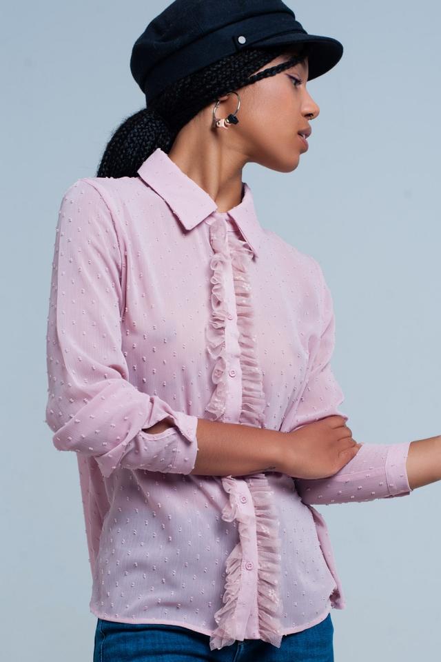 Camisa do chiffon rosa com babados
