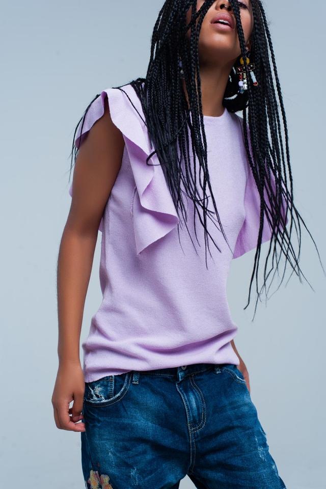 Camisola roxa com detalhe plissado