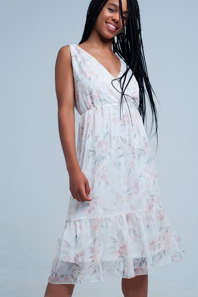 Vestido de chiffon Floral com decote em v