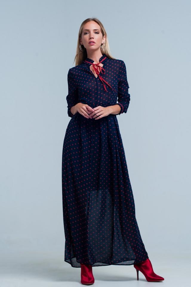 Vestido longo de Chiffon azul de bolinhas